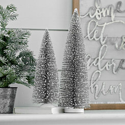 Silver Bottle Brush Trees, Set of 2