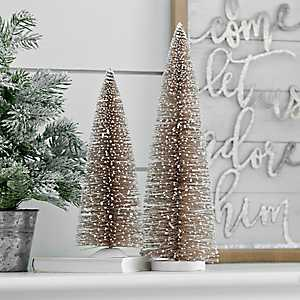Champagne Bottle Brush Trees, Set of 2