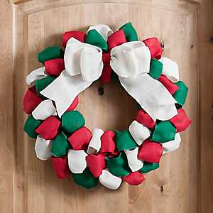 Red and Green Burlap Loops Wreath