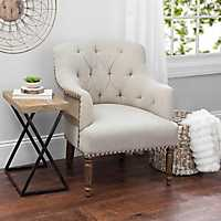 Tufted Exposed Back Mango Wood Accent Chair