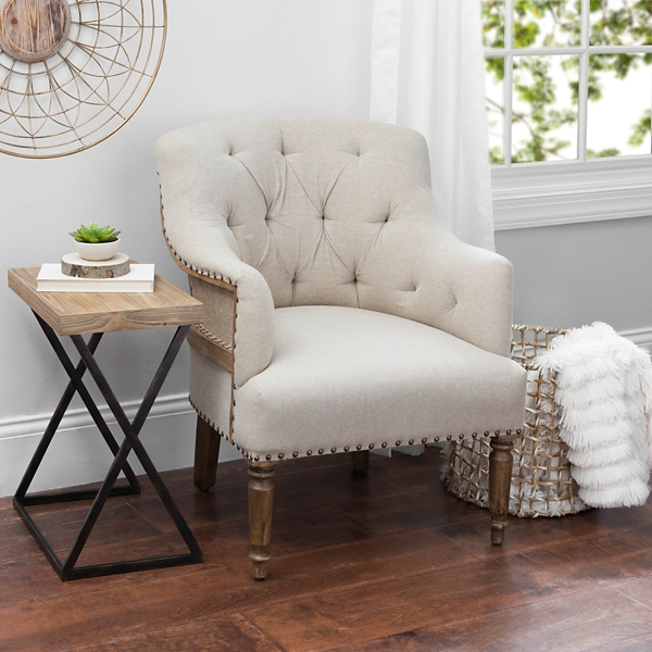Tufted Exposed Back Mango Wood Accent Chair Part 84