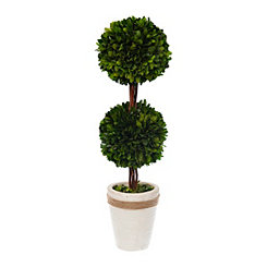 Stacked Round Boxwood Topiary, 19 in.