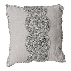 Gray Cable Knit and Whipstitch Pillow