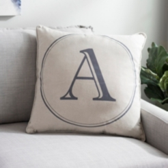 Gray Circle Monogram Pillows