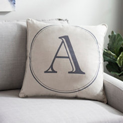Gray Circle Monogram A Pillow