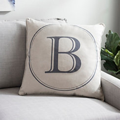 Gray Circle Monogram B Pillow