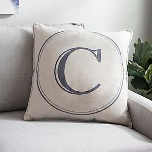 Gray Circle Monogram C Pillow