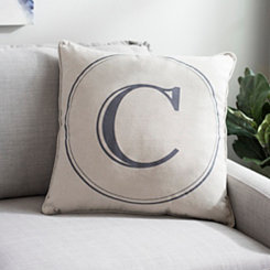 Gray Circle Monogram C Pillow