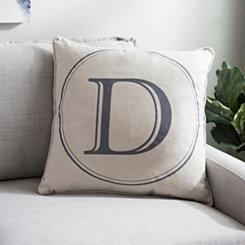 Gray Circle Monogram D Pillow