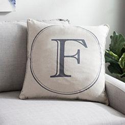 Gray Circle Monogram F Pillow