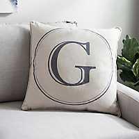 Gray Circle Monogram G Pillow