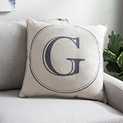 Gray Circle Monogram G Pillow