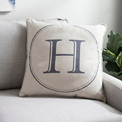 Gray Circle Monogram H Pillow