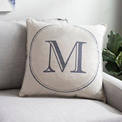 Gray Circle Monogram M Pillow