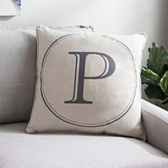 Gray Circle Monogram P Pillow