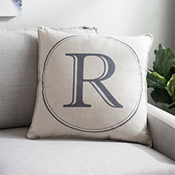 Gray Circle Monogram R Pillow