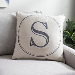 Gray Circle Monogram S Pillow