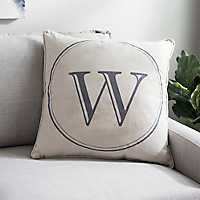 Gray Circle Monogram W Pillow