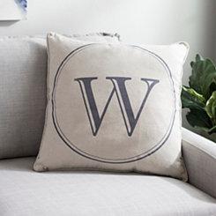 Gray Circle Monogram W Pillow