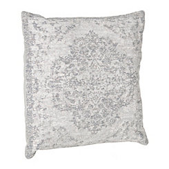Distressed Aqua Damask Pillow