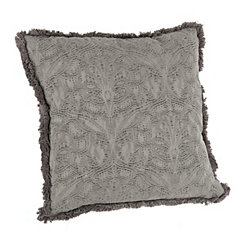 Washed Gray Jacquard Pillow