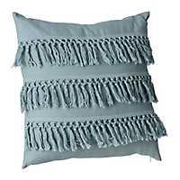 Teal Layered Fringe Pillow