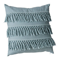 Teal Layered Fringe Pillow