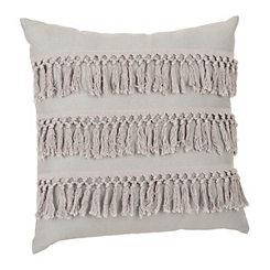 Gray Monet Fringe Pillow