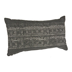 Distressed Black Printed Accent Pillow