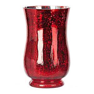 Red Mercury Glass Pre-Lit Hurricane