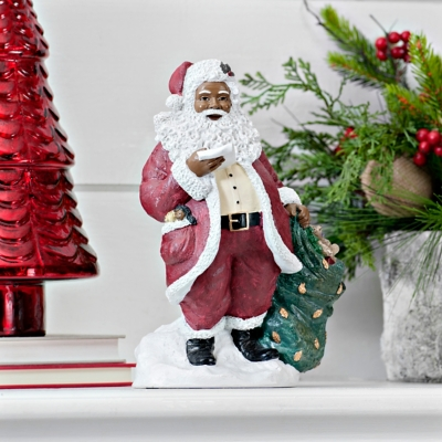 African American Santa with List Figurine