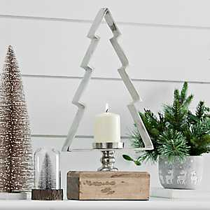 Metal Christmas Tree with Wood Base Candle Holder