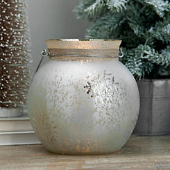 Matte White Snowflake Candle Holder with Handle