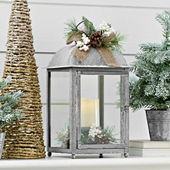 Pre-Lit Galvanized Metal Lantern with Greenery