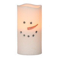 LED Snowman Candle