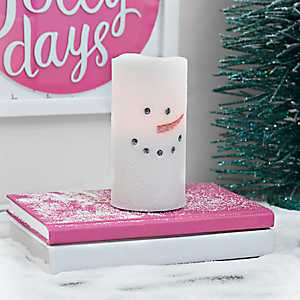 LED Snowman Candle