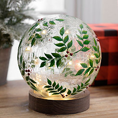 Pre-Lit Holly Orb on Wooden Base