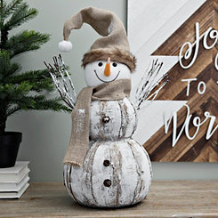 Birch Snowman with Burlap Hat and Scarf