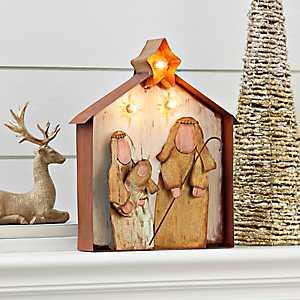 Pre-Lit Metal Holy Family Nativity Scene