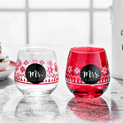 Mr. and Mrs. Stemless Wine Glass, Set of 2