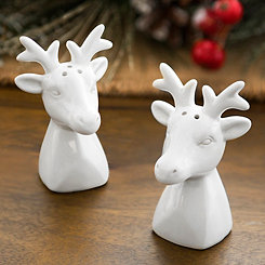 White Reindeer Salt and Pepper Shaker, Set of 2