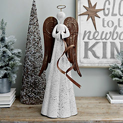 Metal Praying Angel Holding Ribbon Figurine