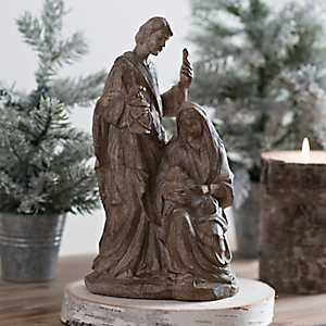 Wood Tone Carved Resin Holy Family Nativity Scene