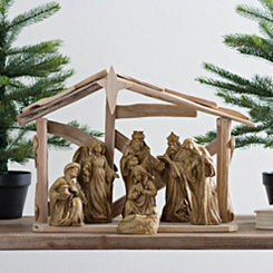Resin Nativity Scene With Wooden Stable