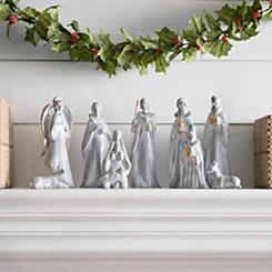 Ceramic Gold Finish Nativity Scene, Set of 10