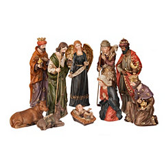 Ceramic Jewel Tone Nativity Scene, Set of 10