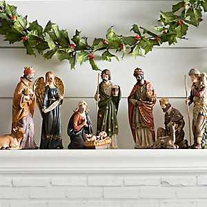 Ceramic Jewel Tone Nativity Scene, Set of 10