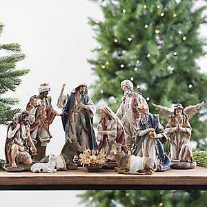Resin Colorful Nativity Scene, Set of 11