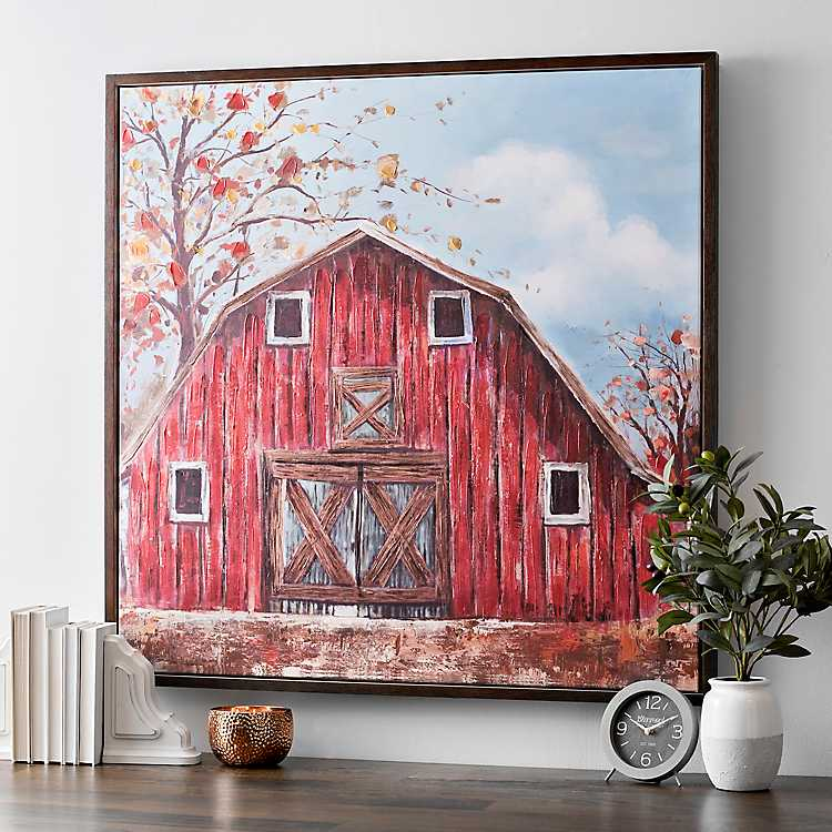 The Red Barn Framed Canvas Art Print | Kirklands