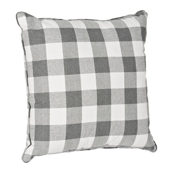gray and white buffalo check pillow